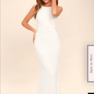 Lulus white lace maxi dress